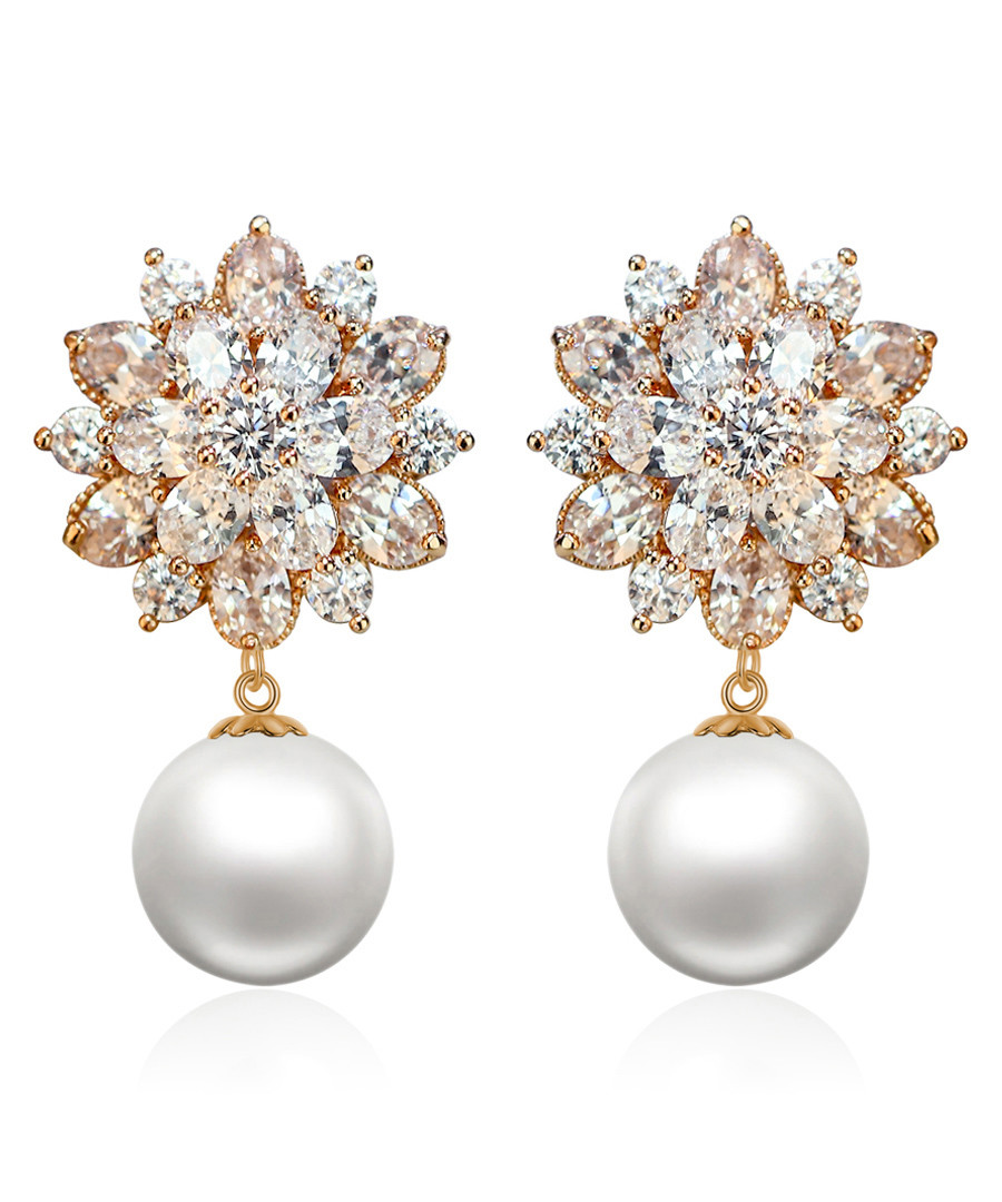 Blooming Snowflake gold-plated earrings Sale - caromay