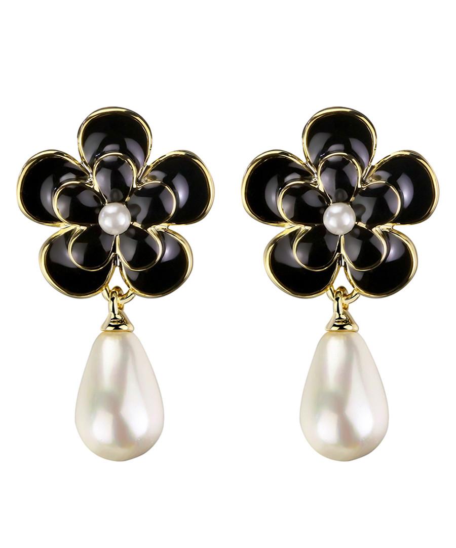 Camellia Flower black earrings  Sale - caromay