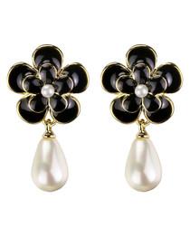 Camellia Flower black earrings