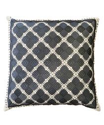 Phulkari grey cotton diamond cushion
