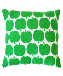Apples green cotton embroidered cushion