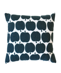 Apples grey cotton embroidered cushion