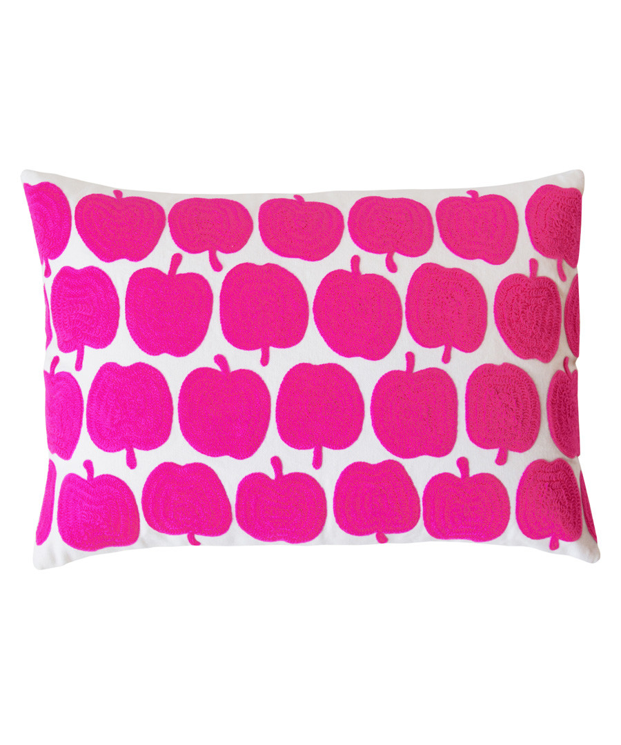 Apples pink cotton embroidered cushion Sale - bombay duck