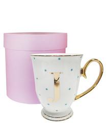 Alphabet Spotty aqua china J mug
