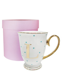 Alphabet Spotty aqua china L mug