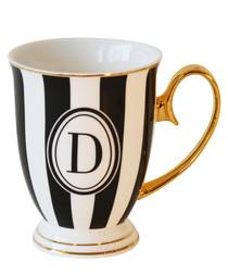 Alphabet Stripy black china D mug