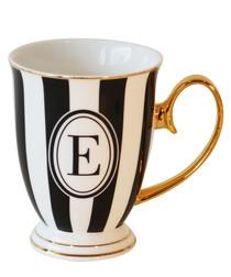 Alphabet Stripy black china E mug