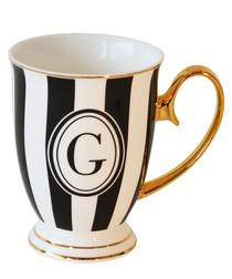 Alphabet Stripy black china G mug