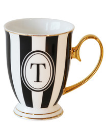 Alphabet Stripy black china T mug