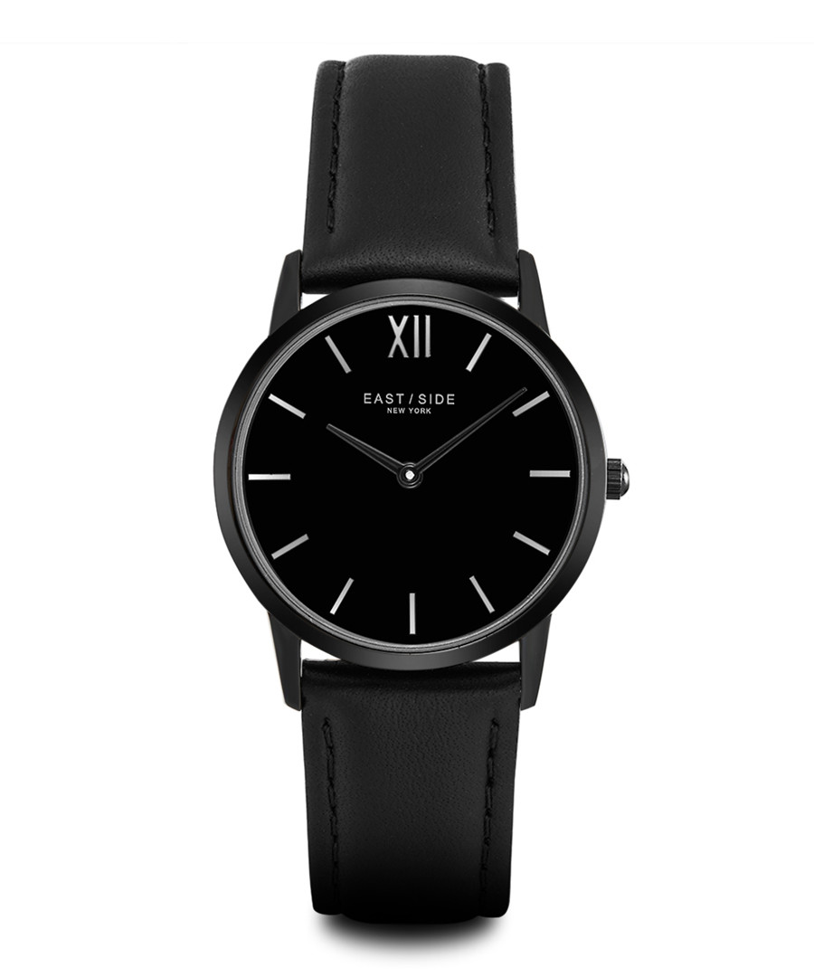 Upper Union black leather & alloy watch Sale - eastside