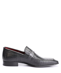 Black leather snake-effect loafers