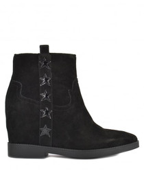Goldie black leather star boots