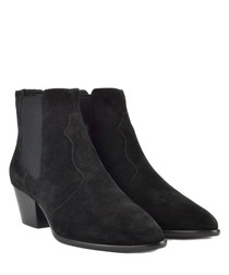 Holly black suede heeled boots