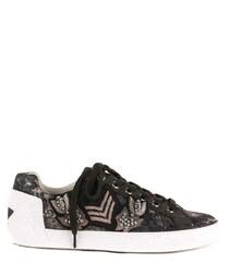 Women's Nak Arms black velvet sneakers