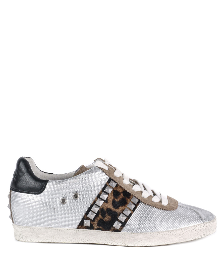 Women's Ginger silver leather sneakers Sale - Ash