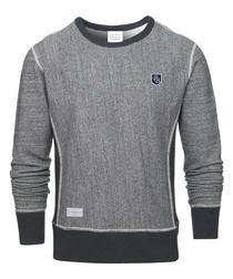 Badge dark grey cotton blend jumper