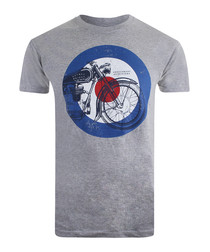 Motorcycle grey pure cotton T-shirt