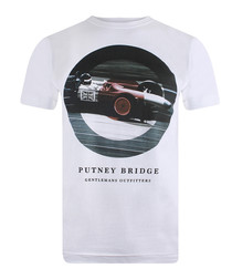 Grand Prix white cotton blend T-shirt