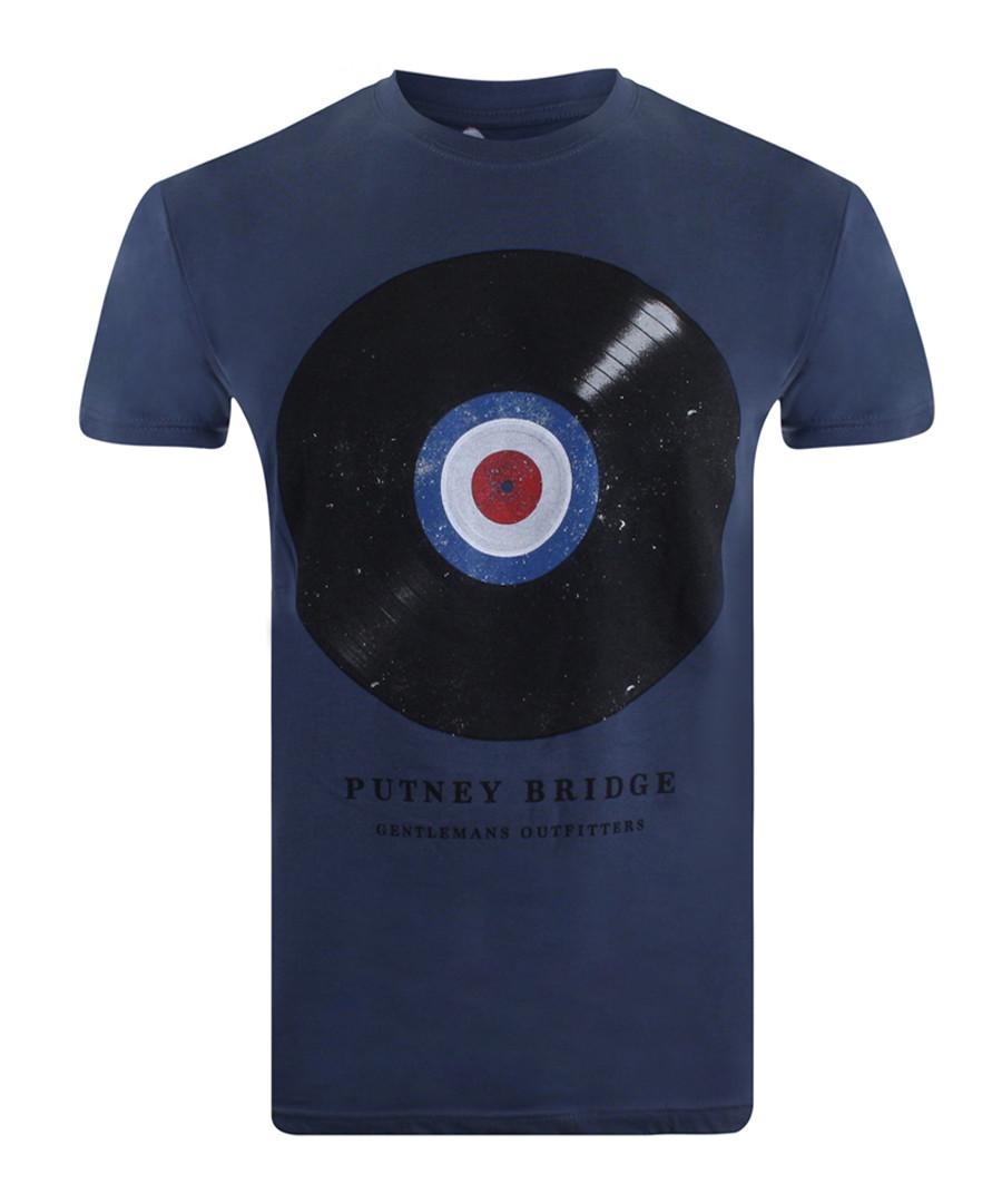 Vinyl Target blue pure cotton T-shirt Sale - putney bridge