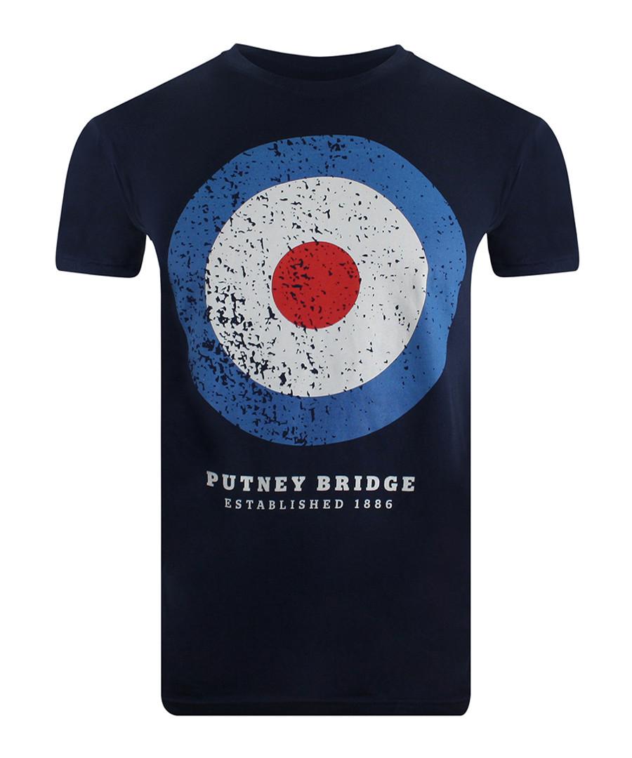 Target Distressed navy cotton T-shirt Sale - putney bridge