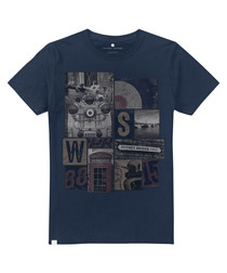 London Icons navy pure cotton T-shirt