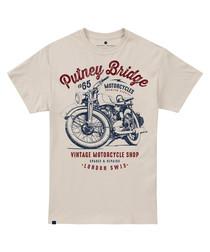 Motorcycle Shop cream cotton T-shirt
