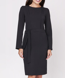 Black belt detail long sleeve dress