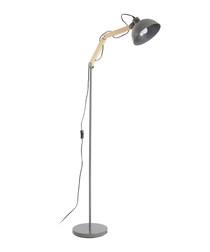 Blair grey metal & wood floor lamp