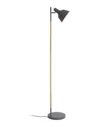 Bryant grey metal & wood floor lamp