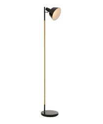 Bryant black metal & wood floor lamp