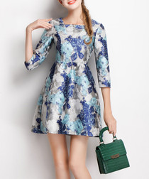 Blue floral print flared dress