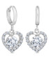 14ct white gold-plated heart earrings Sale - diamond style Sale