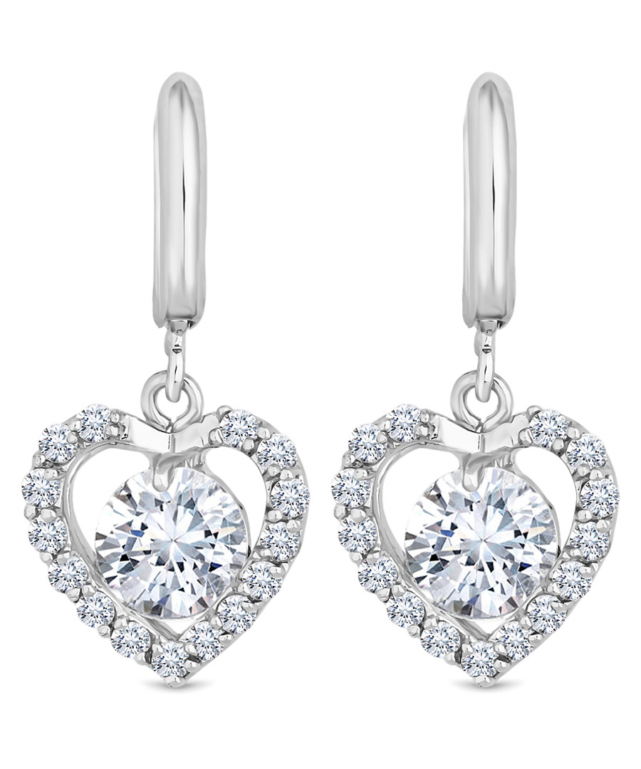 14ct white gold-plated heart earrings Sale - diamond style