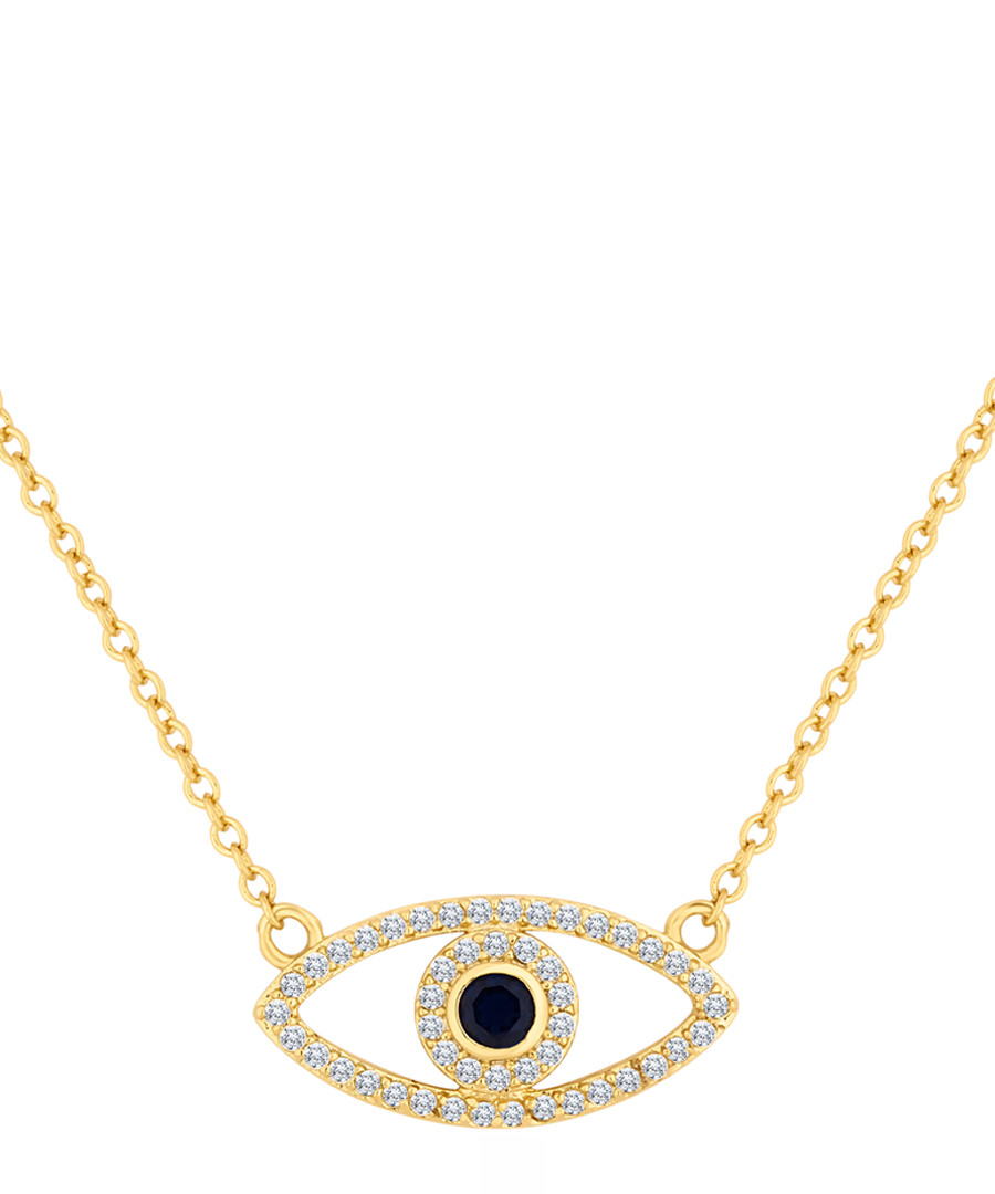 14ct gold-plated & crystal eye necklace Sale - diamond style