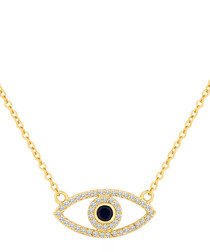 14ct gold-plated & crystal eye necklace