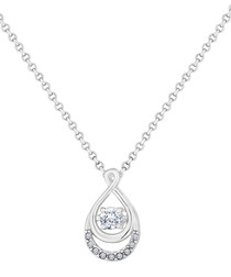 14ct white gold-plated drop necklace