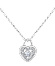 14ct white gold-plated padlock necklace