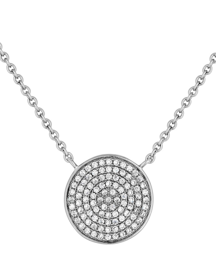14ct white gold-plated disc necklace Sale - diamond style
