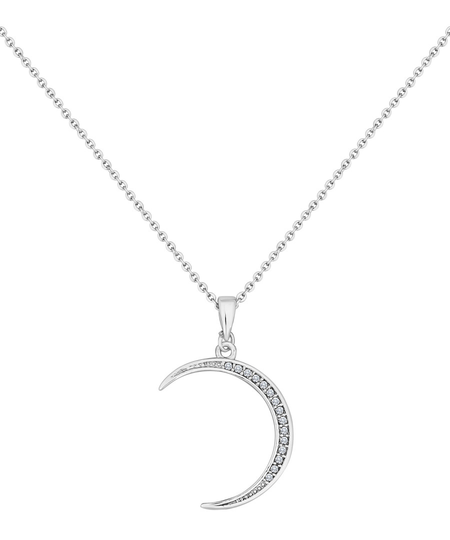 14ct white gold-plated moon necklace Sale - diamond style
