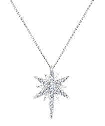 14ct white gold-plated star necklace