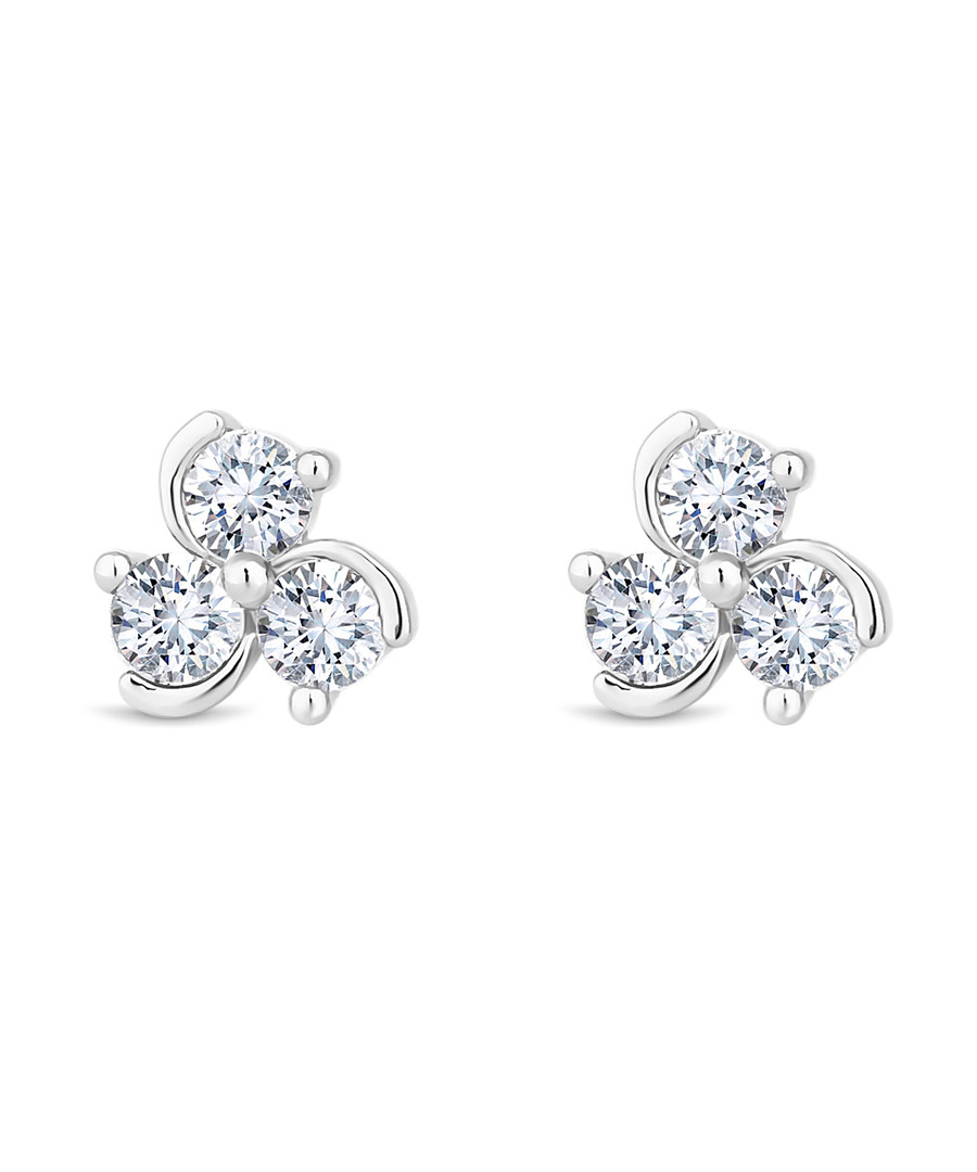 14ct white gold-plated swirl studs Sale - diamond style