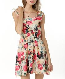 Beige & pink floral dress