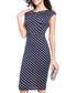 Navy & white polka dot mid length dress Sale - liva girl Sale
