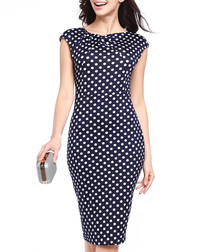 Navy & white polka dot mid length dress