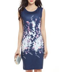 Blue & white floral print dress
