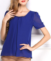 Blue sheer vented blouse