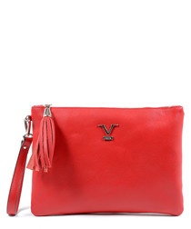 Red leather tassel clutch bag