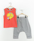 2pc Boys' red cotton blend outfit set Sale - Mushi Sale