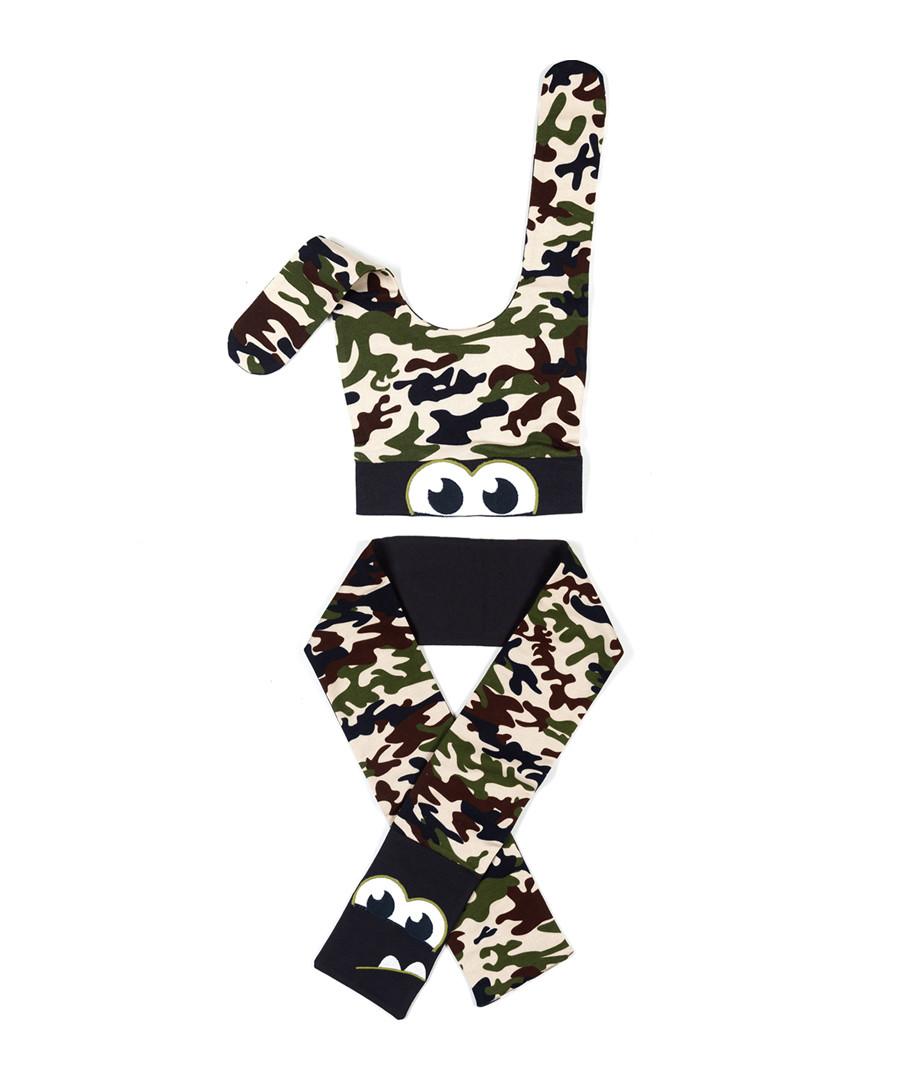 2pc Boys' cream camouflage hat & scarf Sale - Denokids