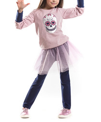 2pc Girl's pink & blue cotton outfit set